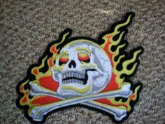 Large Skull Patch Flames Cross Bones 12 x 10 Biker Leather Jacket Back Goth | eBay