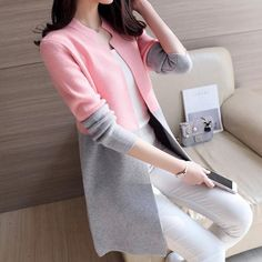 Best 12 2018 Autumn Knitting Loose Fashion Women's Cardigans Patchwork Long Sleeve Simple Style Female Sweaters Korea Style Coats Teen Fashion Outfits, Classy Outfits, Pretty Outfits, Girl Fashion, Fashion Dresses, Womens Fashion, Fashion Tips, Cheap Fashion, Fashion Brands