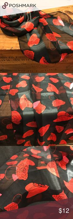 """Black SCARF FOR RED HAT LADIES OF SOCIETY Black SCARF WITH Red HATS FOR RED HAT LADIES OF SOCIETY Approx 13"""" x 60""""   There is one flaw   Please see photos as we do consider them to be a part of the description Accessories Scarves & Wraps"""