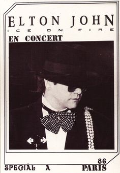 Vintage Music Legend Elton John Paris Concert Postcard