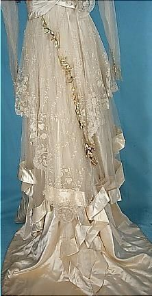 Edwardian - fabulous workmanship-this could be the back and train of a wedding gown, as Queen Victoria had made wearing white for weddings fashionable...