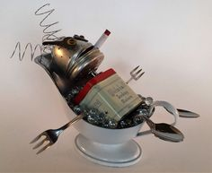 Steampunk Sculpture - Found object robot assemblage - Repurposed Art - Junk Bot - Recycled - Antique Bathtub