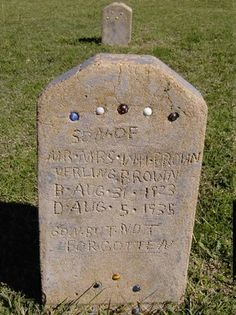 Not a fancy carved stone. Depression era headstone of a boy. Made of concrete and embedded with some of his marbles. Cemetery Monuments, Cemetery Statues, Cemetery Headstones, Old Cemeteries, Cemetery Art, Graveyards, Unusual Headstones, La Danse Macabre, 12 Year Old Boy