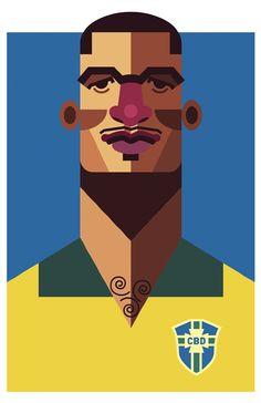 Caricatura de Didi, craque brasileiro na Copa de 1962, por Daniel Nyari Daniel Nyari.