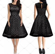 """This is a lovely Vintage Look Formal MeshDress  Available in sizes 4 – 18 (Small – 2XL).  This dress is made from 100% polyester and available in black only.    It has a round neck line, sleeveless arms, polka dot, translucent mesh and soft comfortable fabric.    This item ships within seven (7) days. 📦  Also available on our website at www.UyleesBoutique.com in our """"Dresses"""" section. 👗  Measurements Are As Follows:  Size Small = US 4/6, 32.3"""" - 34.2"""" Bust Range, 26.8"""" Waist, 14.6""""…"""
