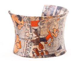 Condorito Cuff Bracelet - Handmade of Recycled Newspaper Paper Mache