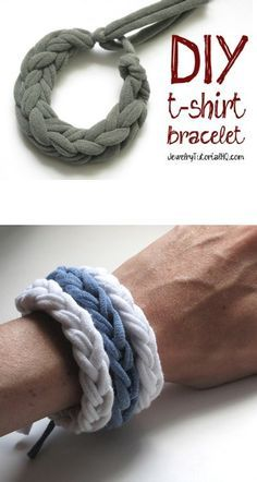 Easy and Fun DIY – Make Your Own Jersey T-Shirt Bracelets. Finger knitting technique that doesn't require hot glue. T Shirt Bracelet, Bangle Bracelet, Jersey Knit Bracelet, Pandora Bracelets, Silver Bracelets, Finger Knitting Projects, Knitting Tutorials, Knitting Ideas, Knitting Patterns