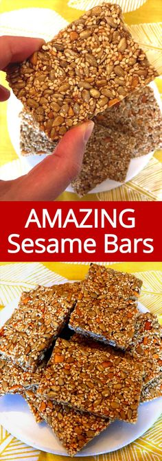 Recipes Breakfast Bars These sesame bars are amazing! Made with just nuts and seeds, this stuff really fills you up! These sesame energy bars are perfect for breakfast on the go! Healthy Protein Snacks, Healthy Bars, Healthy Cookies, Healthy Sweets, Protein Bars, Healthy Energy Bar Recipes, Healthy Breakfasts, Vegan Protein, Keto Snacks
