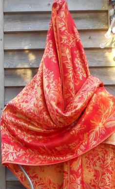 Pashmina,,Cashmere Shawl,Rave  Shawl,Floral shawl,Orange   and Gold shawl,Wedding wrap Mother of the Bride Wrap,Formal Wear,Best friend Gift