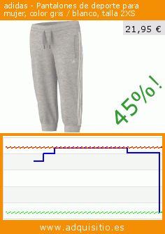 adidas - Pantalones de deporte para mujer, color gris / blanco, talla 2XS (Sports Apparel). Baja 45%! Precio actual 21,95 €, el precio anterior fue de 40,20 €. https://www.adquisitio.es/adidas/pantalones-atletismo-26