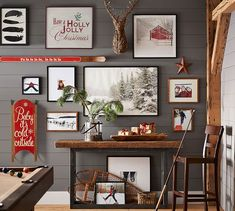 Love the holiday themed gallery wall - sled, reindeer and red accents are a perfect makeover! ~GWDIY   Master Bath Inspiration - Cloak Grey Paint (SW/PB); Natural Wood, black metal accents.