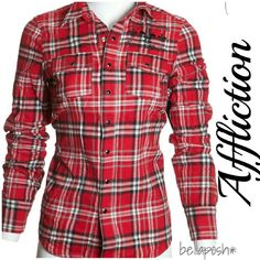 """Sinful by Affliction Flannel Amazing flannel features snap-button closure, beautiful embroidery that reads, """"Sinful Royalty."""" Long sleeves that are convertible with snap closures, and wings on the back. This flannel has a premium slim fit and is 100% cotton. Brand new with tags, non smoker, pet free. Please keep in mind that Affliction brand and its subsidiary Brands tend to run very fitted. Sinful Tops Button Down Shirts"""