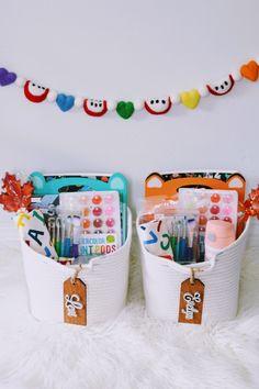 Summer Gift Baskets, Teacher Gift Baskets, Kids Gift Baskets, Teacher Gifts, Back To School Gifts For Kids, Back To School Party, Toddler Gifts, Kids Gifts, Hamper Boxes