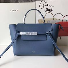 4083d0248642 Celine Mini Belt Handbag In Indigo Blue Grained Calfskin 2017     Real Purse