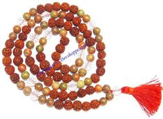 Rudraksha Unakite combination mala for protection and relieve stress