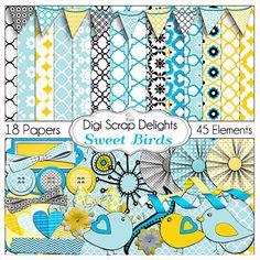 Sweet Birds Digital Scrapbook Kit in Blue and by DigiScrapDelights