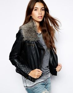 Image 1 of Barneys Biker Jacket with Faux Fur Collar