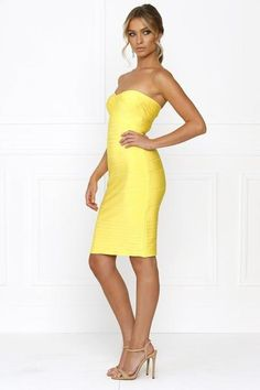 Honey Couture ESTELLE Yellow Strapless Bandage Dress: Vendor: Honey Couture Type: Bandage Dress Price: 149.95 This Honey Couture Yellow…