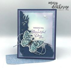 Stampin' Up! Tranquil Thoughts for the Happy Inkin' Thursday Blog Hop   Stamps – n - Lingers Butterfly Cards, Butterfly Wings, Leaf Images, Online Tutorials, Specialty Paper, Glue Dots, Catalogue, Beautiful Day, Free Gifts
