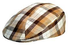 cc92511d Items similar to Brown Plaid Irish Linen Unisex Summer Ivy Driving Golf  Flat Cap Made in USA on Etsy