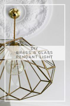 DIY Brass and Glass Pendant Light