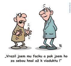 Pavel Kantorek - Vrazil jsem mu facku a pak jsem ho za sebou hnal až k viaduktu! Funny Memes, Jokes, Teaser, Humor, Cartoon, Fictional Characters, Husky Jokes, Humour, Memes