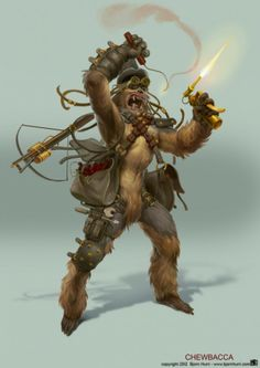 chewbacca steampunk star wars illustration concept art and digital painting by bjorn hurri on gods of art