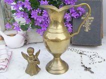 nostalgische Messing Vase Amphore & Engel Leuchter