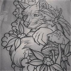 Neo Traditional Fox Tattoo Tattoos by simba. foxy!