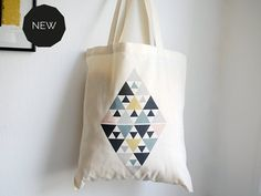 "Tote bag ""DIAMOND"" coton bio - sac en coton bio triangles - losange - sac cabas - Green and paper on Etsy"