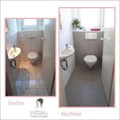Paint the tiles with chalk paint is part of Painting tile - Fliesen streichen mit Kreidefarbe Paint with chalk paint tiles in the bathroom Painting Tile Floors, Paint Tiles, New Toilet, Bathroom Flooring, Paint Bathroom, Bathroom Interior, Bathroom Shelves, Home Staging, Chalk Paint