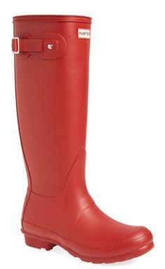 Cherry red Hunter rain boots