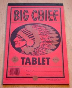 When I was a tow-headed lad, I learned to write on a Big Chief Tablet . I remember hunching over my tablet with a pencil in hand as I caref. School Memories, My Childhood Memories, Childhood Toys, Sweet Memories, School Days, 1970s Childhood, Before I Forget, Don't Forget, Photo Vintage