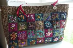 Floral Embroidery Patterns, Creative Embroidery, Cecile, Primitive Folk Art, Mysore, Quilted Bag, Wool Applique, Small Quilts, Handmade Bags
