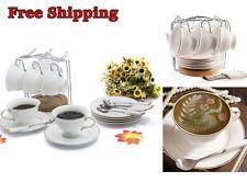 Stylish Porcelain Tea Coffee Cup Saucer Spoon Bracket Stand Rack Set Dinnerware
