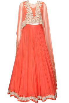 Coral floral embroidered cape lehenga set available only at Pernia's Pop-Up Shop.