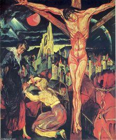 'kreuzigung', öl auf leinwand von Max Ernst (1891-1976, Germany)