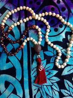 108 wooden bead MALA hand knotted  hemp Mala by HappyHempCrafts