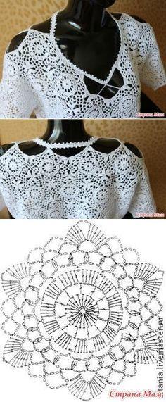 La blusa chiné blanca por el gancho - la Labor de punto - el País de las Mamás