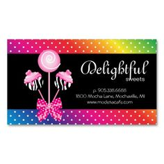 Shop Cake Pops Business Card Bakery Zebra Retro Rainbow created by texas_star. Bakery Business Cards, Cake Business, Pastry Logo, Cute Bakery, Texas Star, Polka Dot Print, Cake Pops, Rainbow, Retro