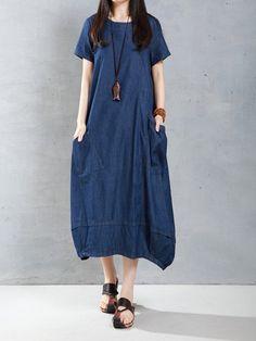 Casual Women Loose Short Sleeve Pockets Denim Lantern Dress