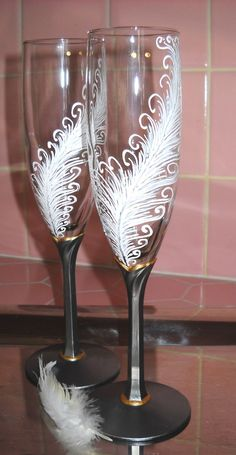 Champagne Flutes Hand Painted Feather Toasting by SkySpiritStudios