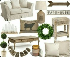 slipcovered sofa//grain sack lamp//wooden arrow//farmhouse sign//glass bottle set with tray//cattle feed pillow//wreath//distressed end table//topiary//coffee table//welcome banner//candle//canvas … New Living Room, Living Room Sofa, Living Room Decor, Farmhouse Style Decorating, Farmhouse Decor, Modern Farmhouse, White Farmhouse, Modern Country, Living Room Inspiration