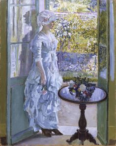 A Sunny Morning 1911 - Frederick Carl Frieseke - (American: American Impressionism, Impressionist Artists, Victorian Art, Mini Paintings, Vintage Artwork, Belle Epoque, American Artists, Lovers Art, Amazing Art