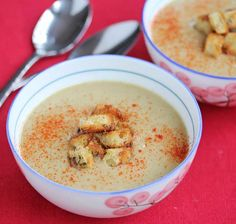 I made this at the Culinary Institute of America ~ Creamy Roasted Cauliflower Chestnut Soup ~ got great reviews! #dairyfree #vegan #glutenfree