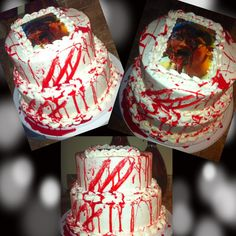 Walking dead cake i did for my brother ( blood is karo syrup )