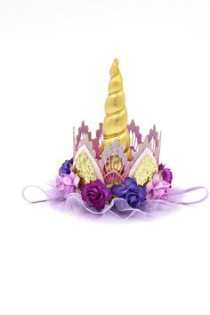 {l ♥ v e} what you see? tweet it ~ pin it ~ like it! fun + unique lace crown painted in a beautiful ombre of purple tones adorned with a metallic gold unicorn horn, gold glitter ears, various shades of purple flowers + lavender tulle trim || coordinating elastic band comes attached