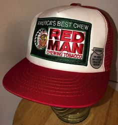 0979923fb05c7 VTG RED MAN CHEWING TOBACCO 80s USA America s Best Chew Trucker Hat Cap  Snapack 70195590167