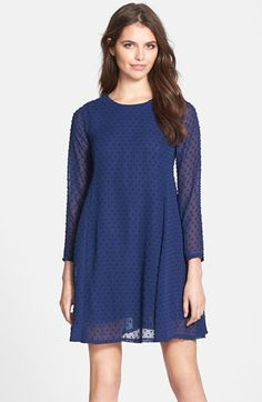 Free shipping and returns on CeCe by Cynthia Steffe 'Asha' Textured Dot Chiffon Babydoll Dress at Nordstrom.com. Pretty Swiss dots texture a lovely chiffon dress styled with sheer three-quarter sleeves and a swishy babydoll silhouette.