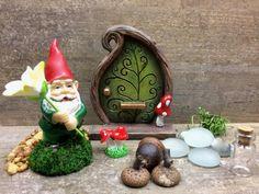 DIY Fairy Garden Mini Garden Gnome & Door Kids craft Fairy | Etsy Garden Party Favors, Gnome Door, Fairy Garden Supplies, Gnome Garden, Miniature Fairy Gardens, Gifts For Coworkers, Party Gifts, Gnomes, Stocking Stuffers